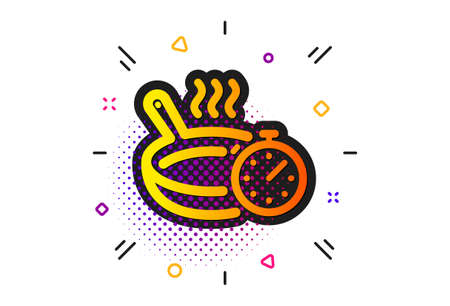 Cooking timer sign. Halftone circles pattern. Frying pan icon. Food preparation symbol. Classic flat frying pan icon. Vector
