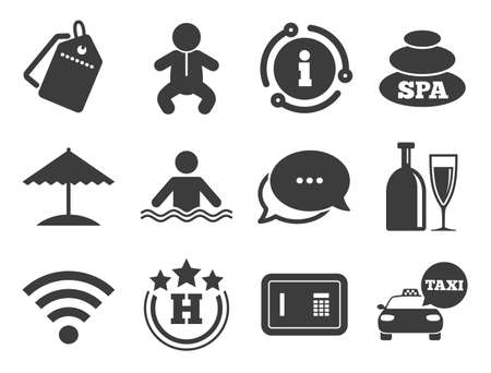 Spa, swimming pool signs. Discount offer tag, chat, info icon. Hotel, apartment service icons. Alcohol drinks, wifi internet and safe symbols. Classic style signs set. Vector