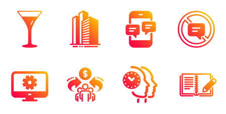 Phone messages, Skyscraper buildings and Stop talking line icons set. Martini glass, Monitor settings and Time management signs. Sharing economy, Feedback symbols. Vector Иллюстрация