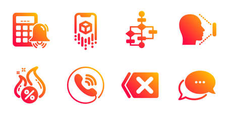 Block diagram, Call center and Hot loan line icons set. Remove, Face id and Augmented reality signs. Calculator alarm, Dots message symbols. Algorithm path, Phone support. Technology set. Vector