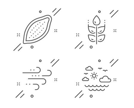 Windy weather, Cocoa nut and Gluten free line icons set. Travel sea sign. Wind, Vegetarian food, Bio ingredients. Summer holidays. Nature set. Line windy weather outline icon. Vector Stock Vector - 135067725