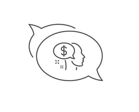 Pay line icon. Chat bubble design. Think about money sign. Beggar symbol. Outline concept. Thin line pay icon. Vector