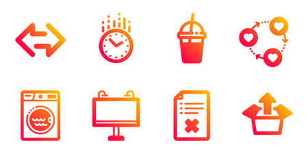 Friends community, Time and Coffee cocktail line icons set. Laundry, Sync and Road banner signs. Reject file, Send box symbols. Love, Clock. Business set. Gradient friends community icons set. Vector