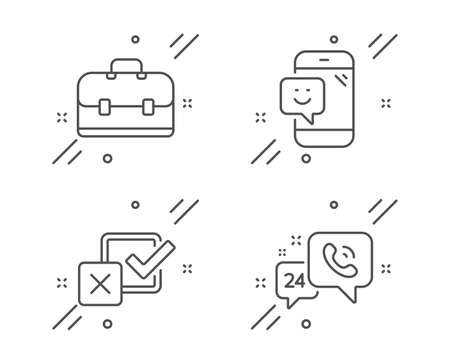 Portfolio, Smile and Checkbox line icons set. 24h service sign. Business case, Phone feedback, Survey choice. Call support. Technology set. Line portfolio outline icon. Vector