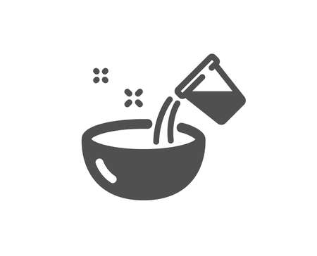 Bowl sign. Cooking add water icon. Food preparation symbol. Classic flat style. Simple cooking water icon. Vector