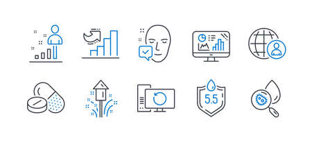 Set of Science icons, such as Ph neutral, Fireworks, Face accepted, Recovery computer, Analytics graph, Stats, International recruitment, Growth chart, Medical drugs, Water analysis. Vector