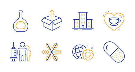 Seo gear, University campus and Send box line icons set. Love coffee, Medical vaccination and Cognac bottle signs. Snowflake, Capsule pill symbols. Web settings, Town building. Business set. Vector Illustration