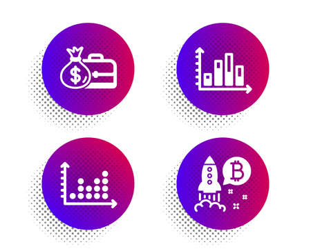 Diagram graph, Salary and Dot plot icons simple set. Halftone dots button. Bitcoin project sign. Presentation chart, Diplomat with money bag, Presentation graph. Cryptocurrency startup. Vector