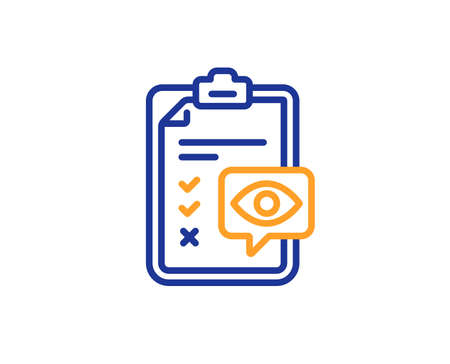 Oculist clinic sign. Eye checklist line icon. Optometry vision check symbol. Colorful outline concept. Blue and orange thin line eye checklist icon. Vector Stock Illustratie
