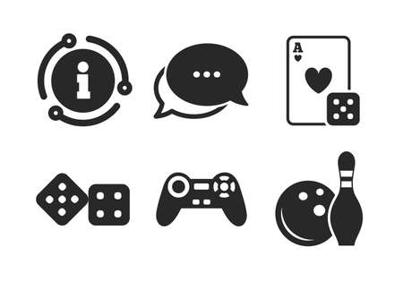 Video game joystick and playing card with dice symbols. Chat, info sign. Bowling and Casino icons. Entertainment signs. Classic style speech bubble icon. Vector