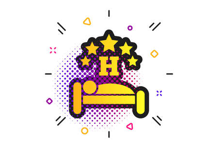Five star Hotel apartment sign icon. Halftone dots pattern. Travel rest place. Sleeper symbol. Classic flat hotel icon. Vector