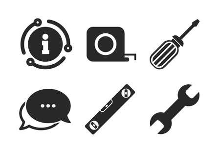 Roulette-Zeichensymbole für Wasserwaage und Maßband. Chat, Infoschild. Symbole für Schraubendreher und Schlüsselschlüssel. Sprechblase im klassischen Stil. Vektor
