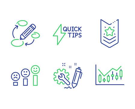 Shoulder strap, Engineering and Quickstart guide line icons set. Keywords, Customer satisfaction and Financial diagram signs. Star rank, Construction, Lightning symbol. Marketing strategy. Vector