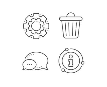 Trash bin line icon. Chat bubble, info sign elements. Garbage, waste sign. Delete, remove symbol. Linear trash bin outline icon. Information bubble. Vector Illustration