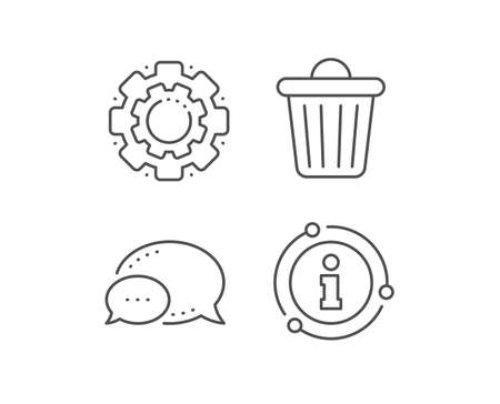 Trash bin line icon. Chat bubble, info sign elements. Garbage, waste sign. Delete, remove symbol. Linear trash bin outline icon. Information bubble. Vector Ilustração