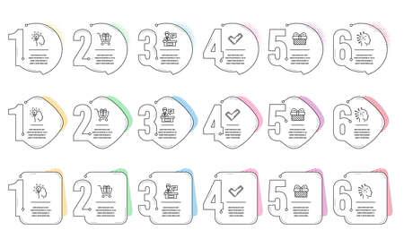Conjunto de iconos de línea de carro de compras, inteligencia artificial y expositores. Línea de tiempo de infografía. Signos de regalo, idea y garrapata. Caja de regalo, intelecto mental, mostrador de información. Regalo. Conjunto de negocios. Vector