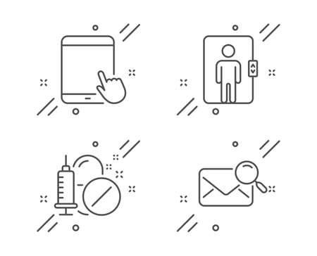 Elevator, Tablet pc and Medical drugs line icons set. Search mail sign. Office transportation, Touchscreen gadget, Medicine pills. Find letter. Business set. Line elevator outline icon. Vector Illustration