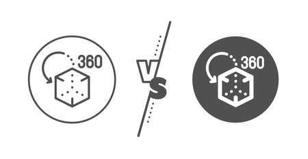 VR simulation sign. Versus concept. Augmented reality line icon. 3d cube symbol. Line vs classic augmented reality icon. Vector