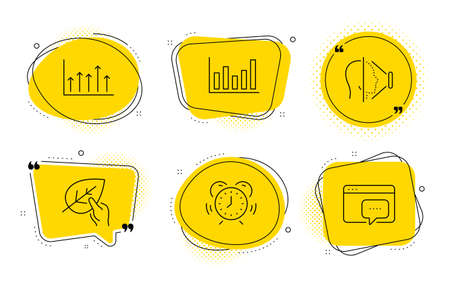 Column chart, Face id and Seo message signs. Chat bubbles. Time management, Growth chart and Organic tested line icons set. Alarm clock, Upper arrows, Paraben. Financial graph. Science set. Vector