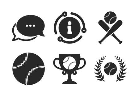 Ball with glove and two crosswise bats signs. Chat, info sign. Baseball sport icons. Winner award cup symbol. Classic style speech bubble icon. Vector Illusztráció
