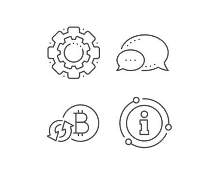 Bitcoin line icon. Chat bubble, info sign elements. Refresh cryptocurrency coin sign. Crypto money symbol. Linear refresh bitcoin outline icon. Information bubble. Vector
