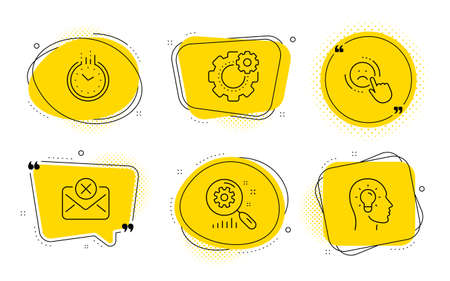 Cogwheel, Reject mail and Idea head signs. Chat bubbles. Dislike, Time and Search statistics line icons set. Negative feedback, Clock, Analysis. Engineering tool. Technology set. Vector