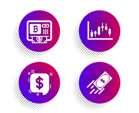 Payment message, Candlestick graph and Bitcoin atm icons simple set. Halftone dots button. Fast payment sign. Finance, Finance chart, Cryptocurrency change. Finance set. Vector