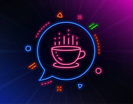 Coffee cup line icon. Neon laser lights. Hot tea drink sign. Hotel service symbol. Glow laser speech bubble. Neon lights chat bubble. Banner badge with coffee cup icon. Vector