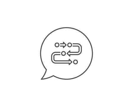 Methodology line icon. Chat bubble design. Development process sign. Strategy symbol. Outline concept. Thin line methodology icon. Vector
