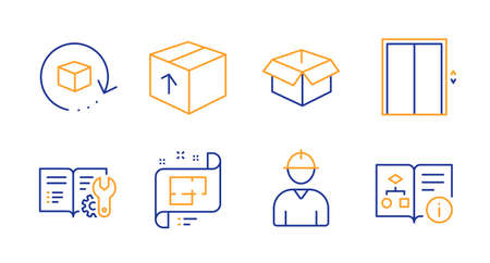 Return package, Lift and Engineer line icons set. Architectural plan, Package and Engineering documentation signs. Opened box, Technical algorithm symbols. Exchange goods, Elevator. Vector