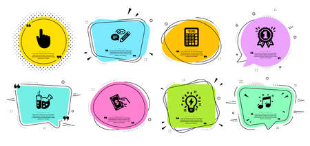 Inspiration, Keywords and Pay money line icons set. Chat bubbles with quotes. Reward, Chemistry lab and Hand click signs. Musical note, Calculator symbols. Creativity, Pencil with key. Vector