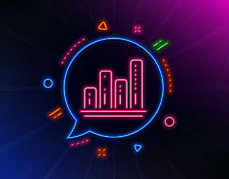 Graph line icon. Neon laser lights. Column chart sign. Growth diagram symbol. Glow laser speech bubble. Neon lights chat bubble. Banner badge with graph chart icon. Vector