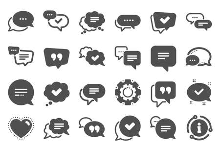 Chat and quote icons. Approved, Checkmark box and Social media message. Chat speech bubble, Tick or check mark, Comment quote icons. Think, approved talk, speech bubble. Quality set. Vector