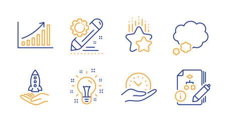 Idea, Crowdfunding and Safe time line icons set. Project edit, Ranking stars and Talk bubble signs. Graph chart, Algorithm symbols. Creativity, Start business. Education set. Line idea icon. Vector Ilustração