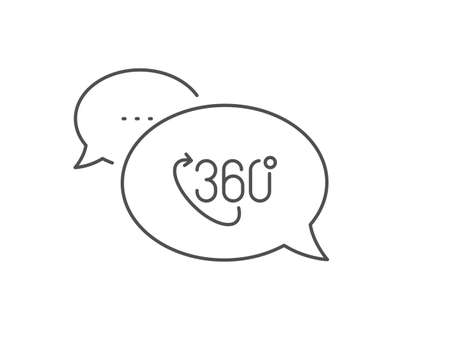 360 degree line icon. Chat bubble design. VR technology simulation sign. Panoramic view symbol. Outline concept. Thin line 360 degree icon. Vector 向量圖像