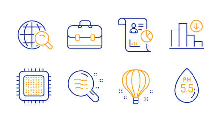 Air balloon, Skin condition and Report line icons set. Internet search, Cpu processor and Portfolio signs. Decreasing graph, Ph neutral symbols. Sky travelling, Search magnifier. Science set. Vector 向量圖像