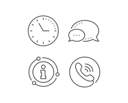 Call center service line icon. Chat bubble, info sign elements. Phone support sign. Feedback symbol. Linear call center outline icon. Information bubble. Vector