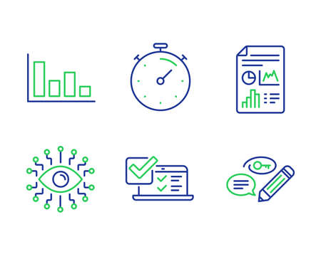 Online survey, Timer and Report document line icons set. Histogram, Artificial intelligence and Keywords signs. Quiz test, Deadline management, Growth chart. Economic trend. Education set. Vector
