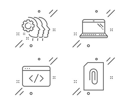 Employees teamwork, Laptop and Seo script line icons set. Attachment sign. Collaboration, Computer, Programming. Attach document. Line employees teamwork outline icon. Vector
