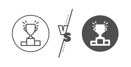 Sports Trophy symbol. Versus concept. Winner podium line icon. Championship achievement sign. Line vs classic winner podium icon. Vector Imagens - 134446059