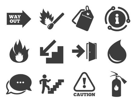 Fire extinguisher, exit and attention signs. Discount offer tag, chat, info icon. Fire safety, emergency icons. Caution, water drop and way out symbols. Classic style signs set. Vector Illustration