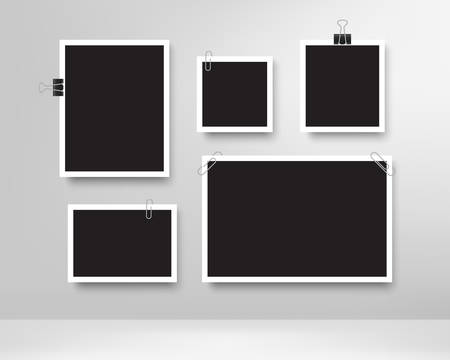 Realistic photo frames. Blank photos frame with paper clips, wall memory, retro image memories album. Vintage photo mock up for picture template. Vector