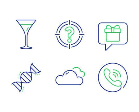 Headhunter, Chemistry dna and Wish list line icons set. Martini glass, Cloudy weather and Call center signs. Aim with question mark, Chemical formula, Present box. Wine. Business set. Vector Иллюстрация