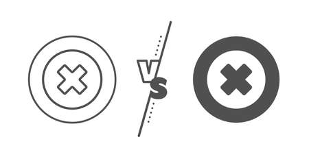 Remove sign. Versus concept. Delete line icon. Cancel or Close symbol. Line vs classic close button icon. Vector Ilustrace