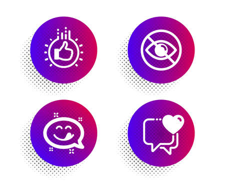 Yummy smile, Not looking and Like hand icons simple set. Halftone dots button. Heart sign. Emoticon, Eye care, Thumbs up. Love chat. People set. Classic flat yummy smile icon. Vector