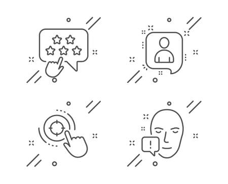 Seo target, Ranking star and Developers chat line icons set. Face attention sign. Click aim, Click rank, Manager talk. Exclamation mark. People set. Line seo target outline icon. Vector
