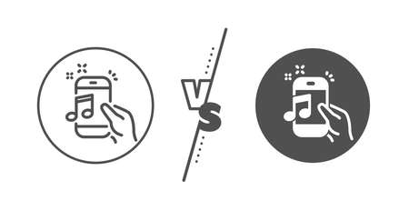 Mobile radio sign. Versus concept. Music in phone line icon. Musical device symbol. Line vs classic music phone icon. Vector Ilustração