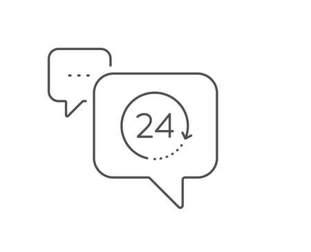 24 hours time line icon. Chat bubble design. Clock sign. Watch symbol. Outline concept. Thin line 24 hours icon. Vector Çizim