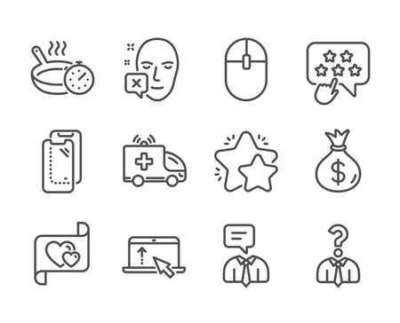 Set of Business icons, such as Hiring employees, Computer mouse, Frying pan, Love letter, Money bag, Ambulance car, Face declined, Smartphone glass, Star, Swipe up, Support service. Vector