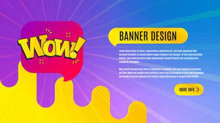 Wow chat bubble badge. Discount banner shape. Sale coupon icon. Abstract background design. Banner with offer badge. Vector